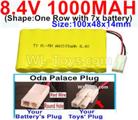 1000mah 8.4V NiCd Battery Pack-AA 8.4 Volt 1000mah Ni-Cd Battery Akku,-With Oda Palace Plug(Round hole-Red Wire)-(Shape-One Row with 7x battery)-Size-100x48x14mm