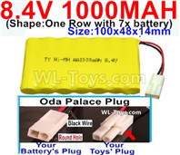 1000mah 8.4V NiCd Battery Pack-AA 8.4 Volt 1000mah Ni-Cd Battery Akku,-With Oda Palace Plug(Round hole-Black Wire)-(Shape-One Row with 7x battery)-Size-100x48x14mm