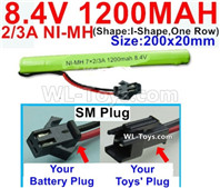 1200mah 8.4V NiMH Battery Pack-2/3AA 8.4 Volt 1200mah Ni-MH Battery-With SM Plug-(Shape-I Shape,One Row)-Size-200x20mm
