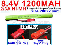 1200mah 8.4V NiMH Battery Pack-2/3AA 8.4 Volt 1200mah Ni-MH Battery-With JST Plug-(Shape-I Shape,One Row)-Size-200x20mm