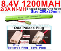 1200mah 8.4V NiMH Battery Pack-2/3AA 8.4 Volt 1200mah Ni-MH Battery-With Oda Palace Plug(Round hole-Red Wire)-(Shape-I Shape,One Row)-Size-200x20mm