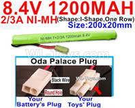 1200mah 8.4V NiMH Battery Pack-2/3AA 8.4 Volt 1200mah Ni-MH Battery-With Oda Palace Plug(Round hole-Black Wire)-(Shape-I Shape,One Row)-Size-200x20mm
