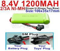 1200mah 8.4V NiMH Battery Pack-2/3AA 8.4 Volt 1200mah Ni-MH Battery-With SM Plug-(ShapeU-Shape,Two Row)-Size-106x35x17mm