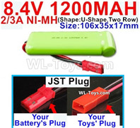1200mah 8.4V NiMH Battery Pack-2/3AA 8.4 Volt 1200mah Ni-MH Battery-With JST Plug-(ShapeU-Shape,Two Row)-Size-106x35x17mm