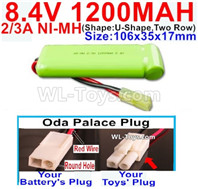 1200mah 8.4V NiMH Battery Pack-2/3AA 8.4 Volt 1200mah Ni-MH Battery-With Oda Palace Plug(Round hole-Red Wire)-(ShapeU-Shape,Two Row)-Size-106x35x17mm