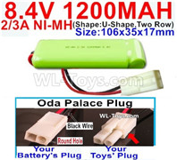 1200mah 8.4V NiMH Battery Pack-2/3AA 8.4 Volt 1200mah Ni-MH Battery-With Oda Palace Plug(Round hole-Black Wire)-(ShapeU-Shape,Two Row)-Size-106x35x17mm