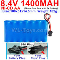 1000mah 8.4V NiCd Battery Pack-AA 8.4 Volt 1000mah Ni-Cd Battery Akku-With SM Plug-(Shape-One Row with 7 Inner-Battery)-Size-100x51x14.5mm-Weight-182g