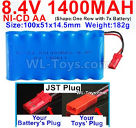 1000mah 8.4V NiCd Battery Pack-AA 8.4 Volt 1000mah Ni-Cd Battery Akku-With JST Plug-(Shape-One Row with 7 Inner-Battery)-Size-100x51x14.5mm-Weight-182g