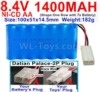 1000mah 8.4V NiCd Battery Pack-AA 8.4 Volt 1000mah Ni-Cd Battery Akku-With Datian Palace-2P Plug(The D-Shape hole is Black wire)-(Shape-One Row with 7 Inner-Battery)-Size-100x51x14.5mm-Weight-182g