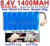 1000mah 8.4V NiCd Battery Pack-AA 8.4 Volt 1000mah Ni-Cd Battery Akku-With HuanQi-2P plug(1X Square hole+ 1X D-Shape Hole.The D-Shape Hole is Red Wire)-(Shape-One Row with 7 Inner-Battery)-Size-100x51x14.5mm-Weight-182g