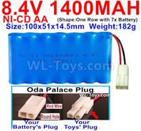 1000mah 8.4V NiCd Battery Pack-AA 8.4 Volt 1000mah Ni-Cd Battery Akku-With Oda Palace Plug(Round hole-Red Wire)-(Shape-One Row with 7 Inner-Battery)-Size-100x51x14.5mm-Weight-182g