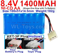1000mah 8.4V NiCd Battery Pack-AA 8.4 Volt 1000mah Ni-Cd Battery Akku-With KET-3P Plug(Hollow)-(2X Suare Hole+1X D-Shape Hole,The Middle hole is Black wire)-Size-100x51x14.5mm-Weight-182g