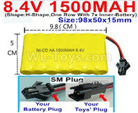 1500mah 8.4V NiCd Battery Pack-AA 8.4 Volt 1500mah Ni-Cd Battery Akku,With SM Plug-(Shape-One Row with 7 Inner-Battery)