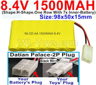 1500mah 8.4V NiCd Battery Pack-AA 8.4 Volt 1500mah Ni-Cd Battery Akku,With Datian Palace-2P Plug(The D-Shape hole is Black wire)-(Shape-H-Shape,One Row With 7x Inner-Battery)-Size-98x50x15mm
