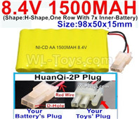 1500mah 8.4V NiCd Battery Pack-AA 8.4 Volt 1500mah Ni-Cd Battery Akku,With HuanQi-2P plug(1X Square hole+ 1X D-Shape Hole.The D-Shape Hole is Red Wire)-(Shape-H-Shape,One Row With 7x Inner-Battery)-Size-98x50x15mm