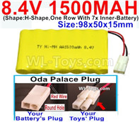 1500mah 8.4V NiCd Battery Pack-AA 8.4 Volt 1500mah Ni-Cd Battery Akku,With Oda Palace Plug(Round hole-Red Wire)-(Shape-H-Shape,One Row With 7x Inner-Battery)-Size-98x50x15mm