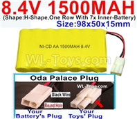 1500mah 8.4V NiCd Battery Pack-AA 8.4 Volt 1500mah Ni-Cd Battery Akku,With Oda Palace Plug(Round hole-Black Wire)-(Shape-H-Shape,One Row With 7x Inner-Battery)-Size-98x50x15mm