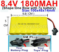 1800mah 8.4V NiCd Battery Pack-AA 8.4 Volt 1800mah Ni-Cd Battery Akku,With SM Plug-(Shape-One Row with 7x battery)-Size-100x48x14mm-Weight-145g