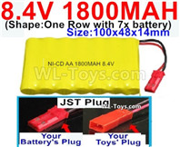 1800mah 8.4V NiCd Battery Pack-AA 8.4 Volt 1800mah Ni-Cd Battery Akku,With JST Plug-(Shape-One Row with 7x battery)-Size-100x48x14mm-Weight-145g