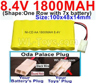 1800mah 8.4V NiCd Battery Pack-AA 8.4 Volt 1800mah Ni-Cd Battery Akku,With Oda Palace Plug(Round hole-Black Wire)-(Shape-One Row with 7x battery)-Size-100x48x14mm-Weight-145g
