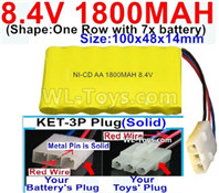 1800mah 8.4V NiCd Battery Pack-AA 8.4 Volt 1800mah Ni-Cd Battery Akku,With KET-3P Plug(Solid)-(2X Suare Hole+1X D-Shape Hole,The Middle hole is Red wire)-(Shape-One Row with 7x battery)-Size-100x48x14mm-Weight-145g