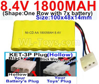 1800mah 8.4V NiCd Battery Pack-Ni-Cd Battery AA,1800mah 8.4V NiCd Battery Pack-Battery Akku-With KET-3P Plug(Solid)-(2X Suare Hole+1X D-Shape Hole,The Middle hole is Red wire)-(Shape-One Row with 7x battery)-Size-100x48x14mm-Weight-145g