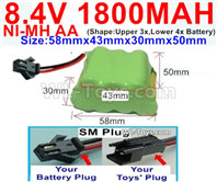 1800mah 8.4V NiMH Battery Pack-AA 8.4 Volt 1800mah Ni-MH Battery-With SM Plug-(Shape-Two Row,Upper Row with 3x Battery,Lower Row with 4x Battery)-Size-58mm(Long length)X43mm(Short length)X30mmX50mm