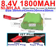 1800mah 8.4V NiMH Battery Pack-AA 8.4 Volt 1800mah Ni-MH Battery-With JST Plug-(Shape-Two Row,Upper Row with 3x Battery,Lower Row with 4x Battery)-Size-58mm(Long length)X43mm(Short length)X30mmX50mm