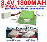 1800mah 8.4V NiMH Battery Pack-AA 8.4 Volt 1800mah Ni-MH Battery-With Datian Palace-2P Plug(The D-Shape hole is Black wire)-(Shape-Two Row,Upper Row with 3x Battery,Lower Row with 4x Battery)-Size-58mm(Long length)X43mm(Short length)X30mmX50mm