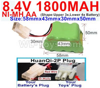 1800mah 8.4V NiMH Battery Pack-AA 8.4 Volt 1800mah Ni-MH Battery-With HuanQi-2P plug(1X Square hole+ 1X D-Shape Hole)-(Shape-Two Row,Upper Row with 3x Battery,Lower Row with 4x Battery)-Size-58mm(Long length)X43mm(Short length)X30mmX50mm