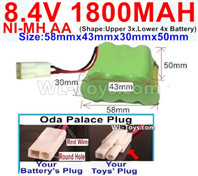 1800mah 8.4V NiMH Battery Pack-AA 8.4 Volt 1800mah Ni-MH Battery-With Oda Palace Plug(Round hole-Red Wire)-(Shape-Two Row,Upper Row with 3x Battery,Lower Row with 4x Battery)-Size-58mm(Long length)X43mm(Short length)X30mmX50mm