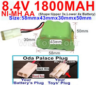 1800mah 8.4V NiMH Battery Pack-AA 8.4 Volt 1800mah Ni-MH Battery-With Oda Palace Plug(Round hole-Black Wire)-(Shape-Two Row,Upper Row with 3x Battery,Lower Row with 4x Battery)-Size-58mm(Long length)X43mm(Short length)X30mmX50mm