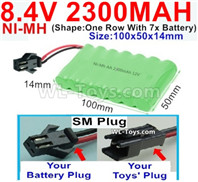 2300mah 8.4V NiMH Battery Pack-AA 8.4 Volt 2300mah Ni-MH Battery-With SM Plug-(Shape-One Row with 7x battery)-Size-100x50x14mm