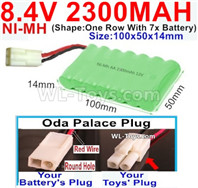 2300mah 8.4V NiMH Battery Pack-AA 8.4 Volt 2300mah Ni-MH Battery-With Oda Palace Plug(Round hole-Red Wire)-(Shape-One Row with 7x battery)-Size-100x50x14mm