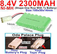 2300mah 8.4V NiMH Battery Pack-AA 8.4 Volt 2300mah Ni-MH Battery-With Oda Palace Plug(Round hole-Black Wire)-(Shape-One Row with 7x battery)-Size-100x50x14mm