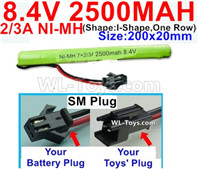 2500mah 8.4V NiMH Battery Pack-2/3AA 8.4 Volt 2500mah Ni-MH Battery-With SM Plug-(Shape-I Shape,One Row)-Size-200x20mm