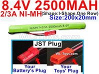 2500mah 8.4V NiMH Battery Pack-2/3AA 8.4 Volt 2500mah Ni-MH Battery-With JST Plug-(Shape-I Shape,One Row)-Size-200x20mm
