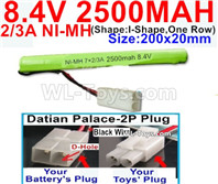 2500mah 8.4V NiMH Battery Pack-2/3AA 8.4 Volt 2500mah Ni-MH Battery-With Datian Palace-2P Plug(The D-Shape hole is Black wire)-(Shape-I Shape,One Row)-Size-200x20mm