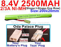 2500mah 8.4V NiMH Battery Pack-2/3AA 8.4 Volt 2500mah Ni-MH Battery-With Oda Palace Plug(Round hole-Red Wire)-(Shape-I Shape,One Row)-Size-200x20mm