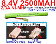 2500mah 8.4V NiMH Battery Pack-2/3AA 8.4 Volt 2500mah Ni-MH Battery-With Oda Palace Plug(Round hole-Black Wire)-(Shape-I Shape,One Row)-Size-200x20mm