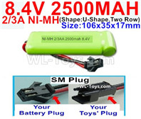 2500mah 8.4V NiMH Battery Pack-2/3AA 8.4 Volt 2500mah Ni-MH Battery-With SM Plug-(ShapeU-Shape,Two Row)-Size-106x35x17mm