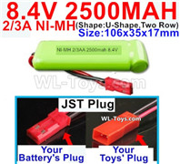 2500mah 8.4V NiMH Battery Pack-2/3AA 8.4 Volt 2500mah Ni-MH Battery-With JST Plug-(ShapeU-Shape,Two Row)-Size-106x35x17mm