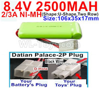 2500mah 8.4V NiMH Battery Pack-2/3AA 8.4 Volt 2500mah Ni-MH Battery-With Datian Palace-2P Plug(The D-Shape hole is Black wire)-(ShapeU-Shape,Two Row)-Size-106x35x17mm