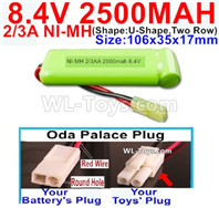 2500mah 8.4V NiMH Battery Pack-2/3AA 8.4 Volt 2500mah Ni-MH Battery-With Oda Palace Plug(Round hole-Red Wire)-(ShapeU-Shape,Two Row)-Size-106x35x17mm