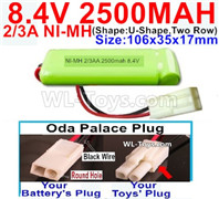 2500mah 8.4V NiMH Battery Pack-2/3AA 8.4 Volt 2500mah Ni-MH Battery-With Oda Palace Plug(Round hole-Black Wire)-(ShapeU-Shape,Two Row)-Size-106x35x17mm