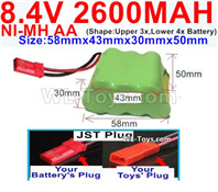 2600mah 8.4V NiMH Battery Pack-AA 8.4 Volt 2600mah Ni-MH Battery,With JST Plug-(Shape-Two Row,Upper Row with 3x Battery,Lower Row with 4x Battery)-Size-58mm(Long length)X43mm(Short length)X30mmX50mm