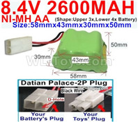 2600mah 8.4V NiMH Battery Pack-AA 8.4 Volt 2600mah Ni-MH Battery,With Datian Palace-2P Plug(The D-Shape hole is Black wire)-(Shape-Two Row,Upper Row with 3x Battery,Lower Row with 4x Battery)-Size-58mm(Long length)X43mm(Short length)X30mmX50mm