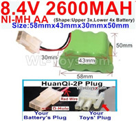 2600mah 8.4V NiMH Battery Pack-AA 8.4 Volt 2600mah Ni-MH Battery,With HuanQi-2P plug(1X Square hole+ 1X D-Shape Hole)-(Shape-Two Row,Upper Row with 3x Battery,Lower Row with 4x Battery)-Size-58mm(Long length)X43mm(Short length)X30mmX50mm