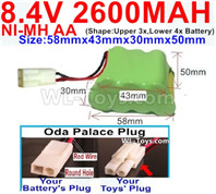 2600mah 8.4V NiMH Battery Pack-AA 8.4 Volt 2600mah Ni-MH Battery,With Oda Palace Plug(Round hole-Red Wire)-(Shape-Two Row,Upper Row with 3x Battery,Lower Row with 4x Battery)-Size-58mm(Long length)X43mm(Short length)X30mmX50mm