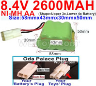 2600mah 8.4V NiMH Battery Pack-AA 8.4 Volt 2600mah Ni-MH Battery,With Oda Palace Plug(Round hole-Black Wire)-(Shape-Two Row,Upper Row with 3x Battery,Lower Row with 4x Battery)-Size-58mm(Long length)X43mm(Short length)X30mmX50mm